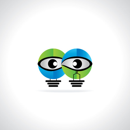 green bulb: creative blue green bulb vision idea concept