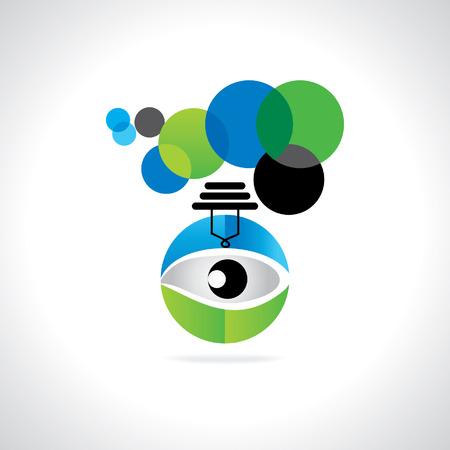 green bulb: creative blue green bulb vision idea concept