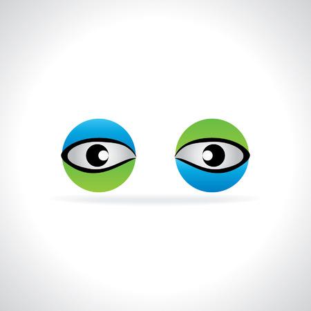 eye green: creativo azul concepto de la visi�n del ojo verde Vectores