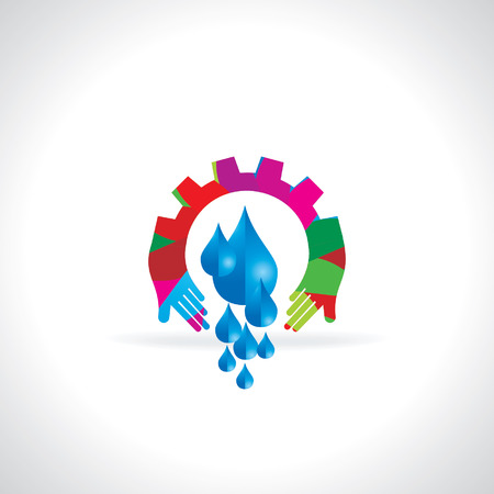 h2o: creative abstract water saving concept with gear Illustration