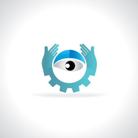 creative eye caring by hand and gear Vector