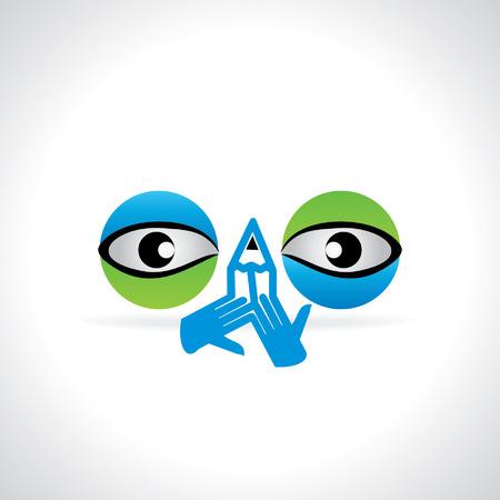 eye green: creativo azul concepto de la visi�n del ojo verde con idea l�piz