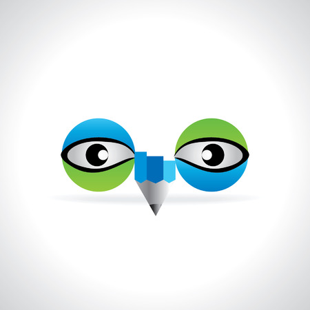 green eye: creative blue green eye with pencil vision concept Illustration