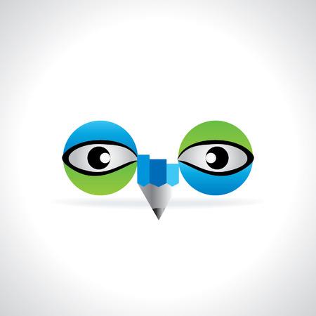 eye green: ojo verde azul creativo con el concepto de visi�n l�piz Vectores