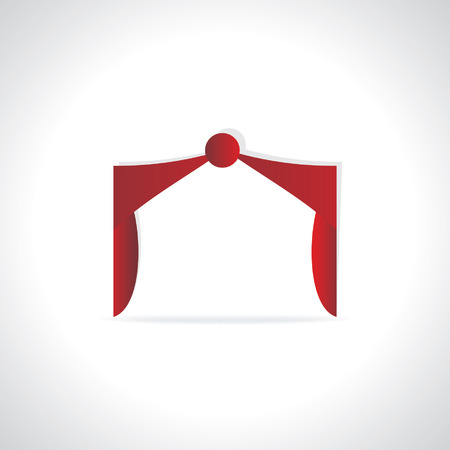 creative Red Curtains over white background Vector
