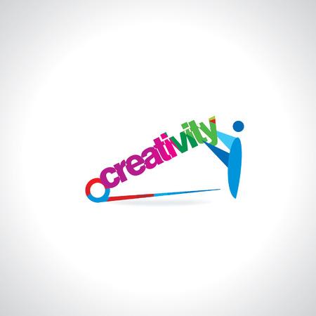 creativity concept: people holding creativity concept Illustration
