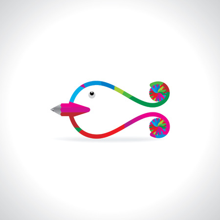 rutilus: creative colorful fish with pencil art vector