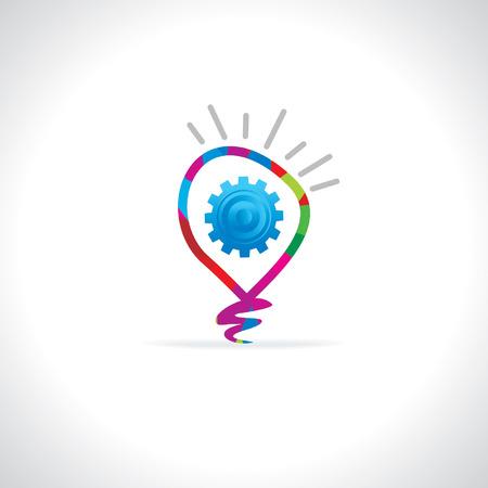 creative bulb inside gear idea concept