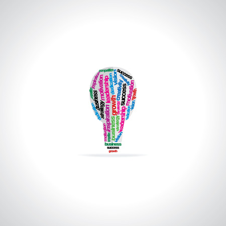 dedication: creative bulb created with many words motivation business Illustration