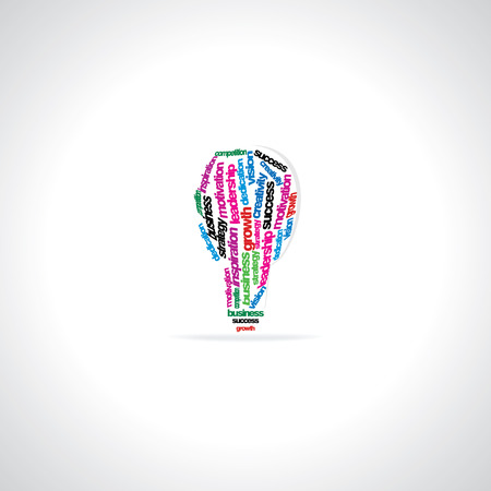 dedicate: creative bulb created with many words motivation business Illustration