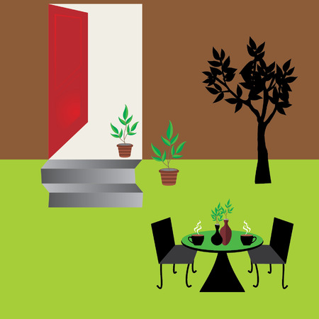 outdoor gardening concept with coffee table Vector