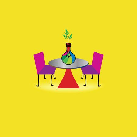 outdoor table concept idea with green bulb idea Vector