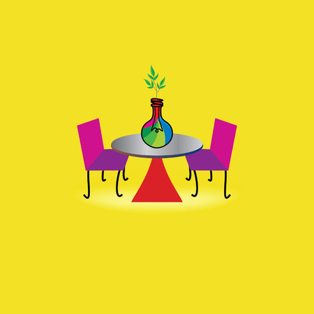 green bulb: outdoor table concept idea with green bulb idea Illustration