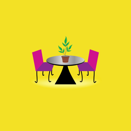 creative table chair concept with plant pot Vector