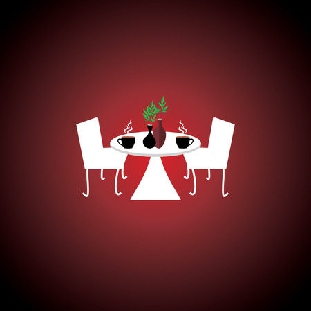 plant pot: creative table chair concept with plant pot and coffee cup