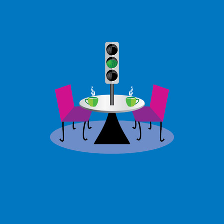 stoplight: creative furniture concept with coffee on table and traffic signal Illustration