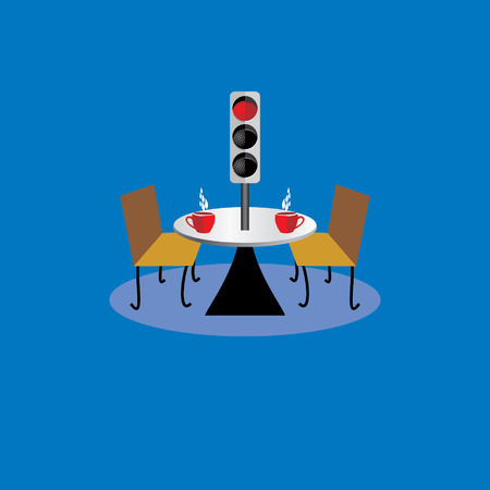 creative furniture concept with coffee on table and traffic signal Vector