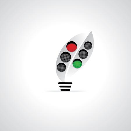 traffic signal idea vector with bulb Vector