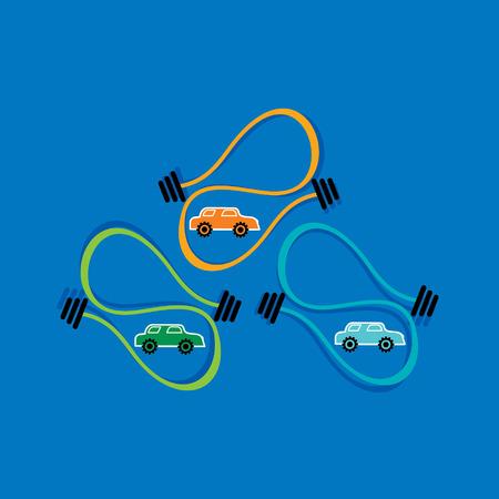 fuel oil and car vector inside of creative bulb vector illustration Vector