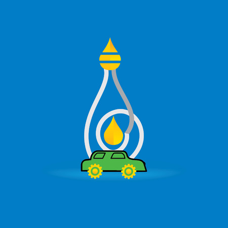 biodiesel plant: fuel oil inside of creative bulb vector illustration with car Illustration