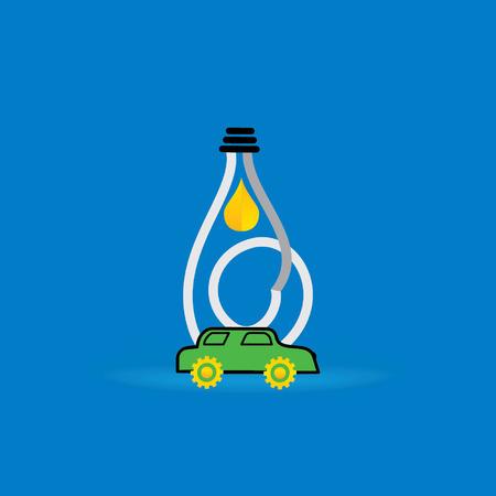 fuel oil inside of creative bulb vector illustration with car Vector