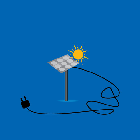 solar energy concept with electric pin Vector