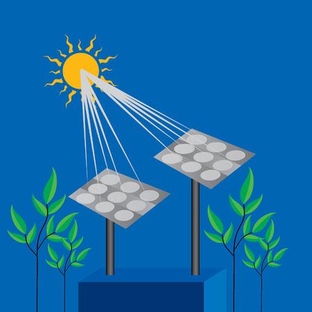 solar energy concept landscape sun rays with green tree Vector