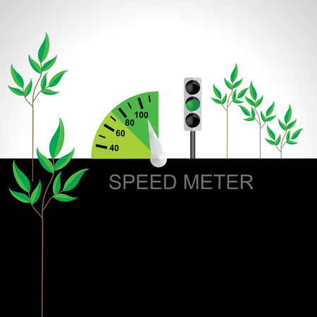 speed meter vector illustration green energy with signal Vector