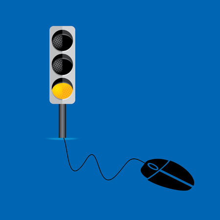traffic signal connect with mouse technology concept Vector