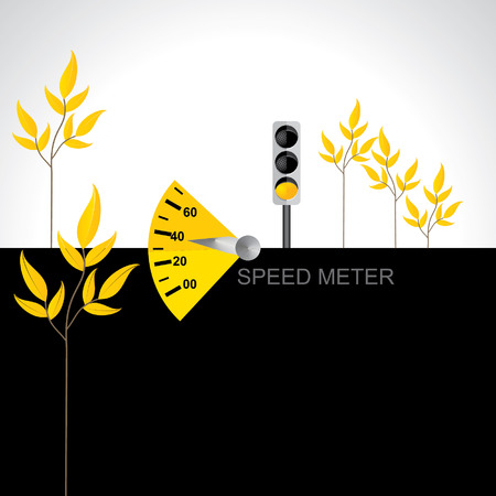 tariff: speed meter vector illustration with yellow signal yellow leaf
