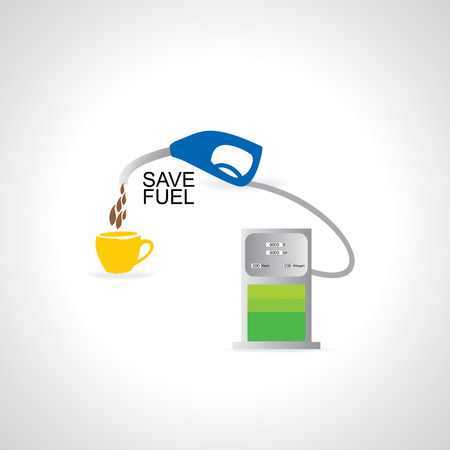 nozzle: fuel pump with nozzle and cup vector Illustration