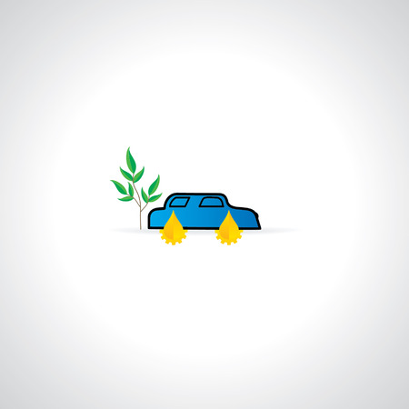 bio fuel concept with car vector Vector