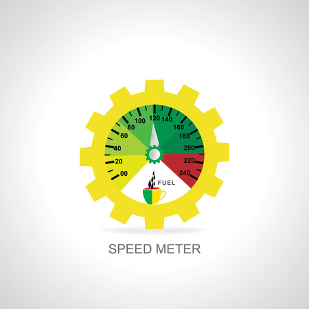 gear  speed: speed meter with gear coffee cup vector illustration