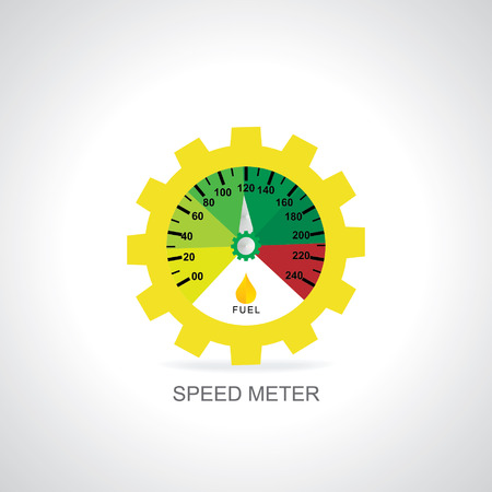 gear  speed: speed meter with gear vector illustration