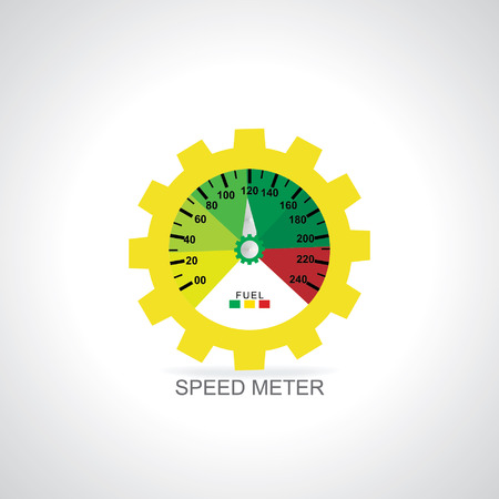 speed meter with gear vector illustration Vector