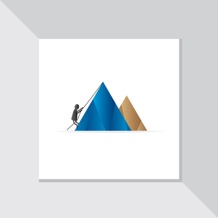 peoples: mountain climbing by peoples vector Illustration