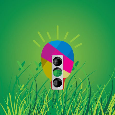 creative bulb with traffic signal and grass green background