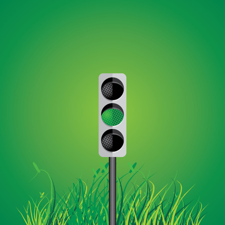 traffic signal: traffic signal with green grass vector