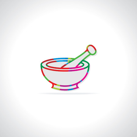 pestle: colorful mortar and pestle vector