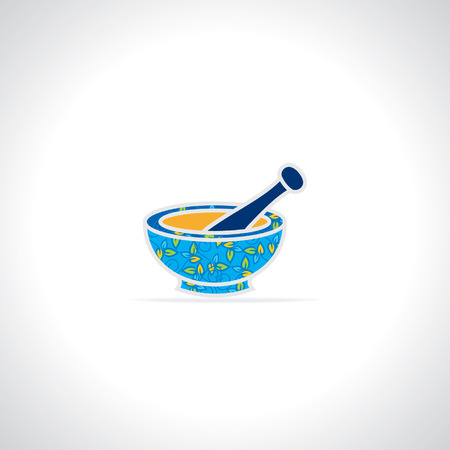 pestle: creative mortar and pestle vector Illustration