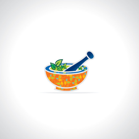 creative mortar and pestle vector Illustration