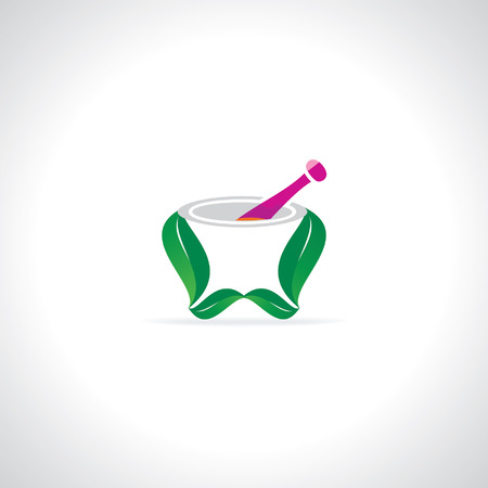 mortar and pestle: mortar and pestle created with leaf Illustration