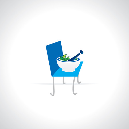 pestle: mortar and pestle over chair vector