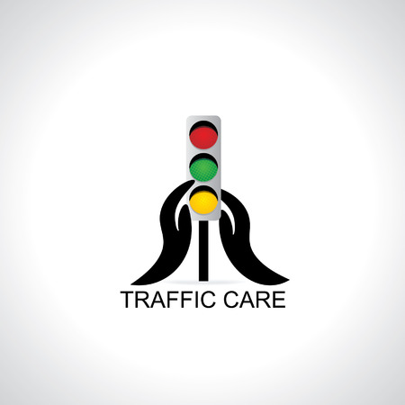 caring: traffic signal caring with hand