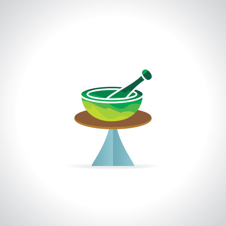 pestle: green abstract mortar and pestle vector Illustration