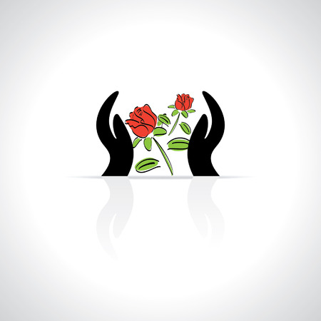 hand care: care concept by hand rose flower Illustration