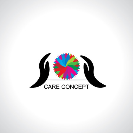 caring: caring concept with colorful abstract