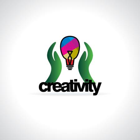 creativity concept: creativity concept idea with hand and bulb