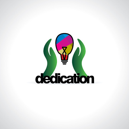 dedication: dedication concept idea with hand and bulb Illustration