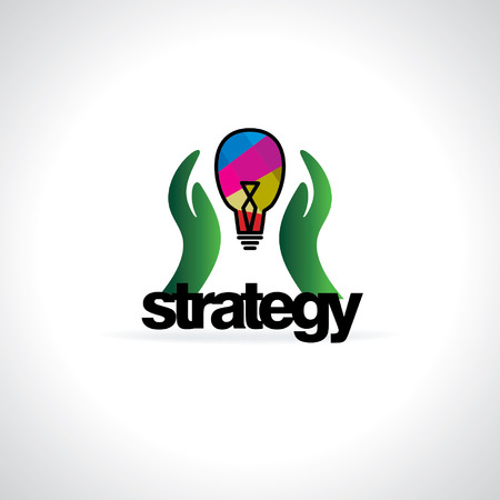 take  care: strategy concept idea with hand and bulb